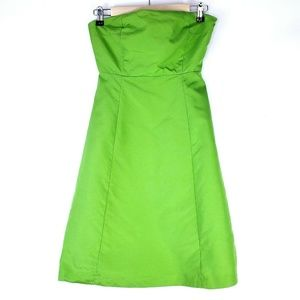 J Crew Bright Lime Green A Line Strapless Dress